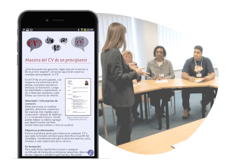 búsqueda de empleo: app de consejos para smartphone IOS y ANDROID
