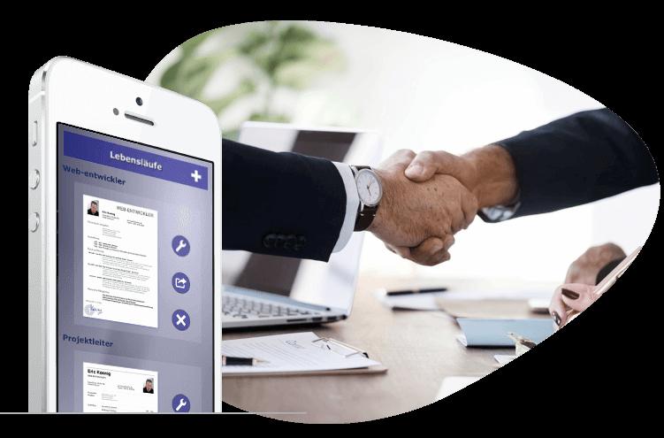 Jobsuche - Giga-CV Lebenslauf App für iOS und Android Smartphone