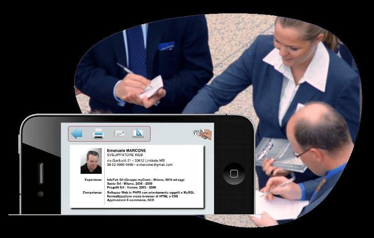 ricerca di lavoro - mini-curriculum app per smartphone IOS